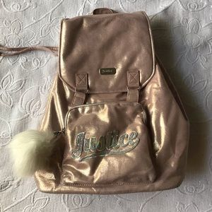 Justice back pack rose gold full size